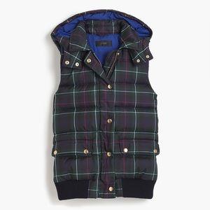 J Crew Tartan Puffer Vest